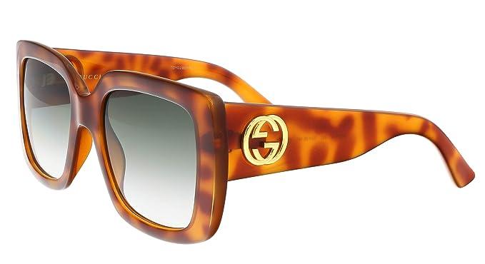 Amazon.com: Gucci gg0141s 002 Havana cuadrado anteojos de ...