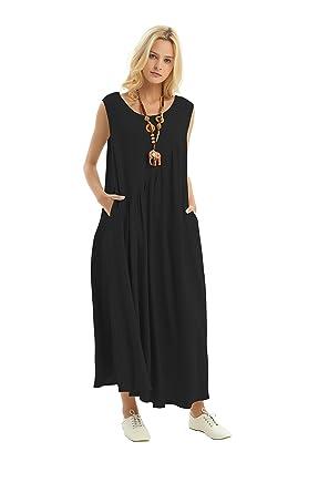 Anysize Side Seam Pockets Loose Cotton Spring Summer Dress Plus Size