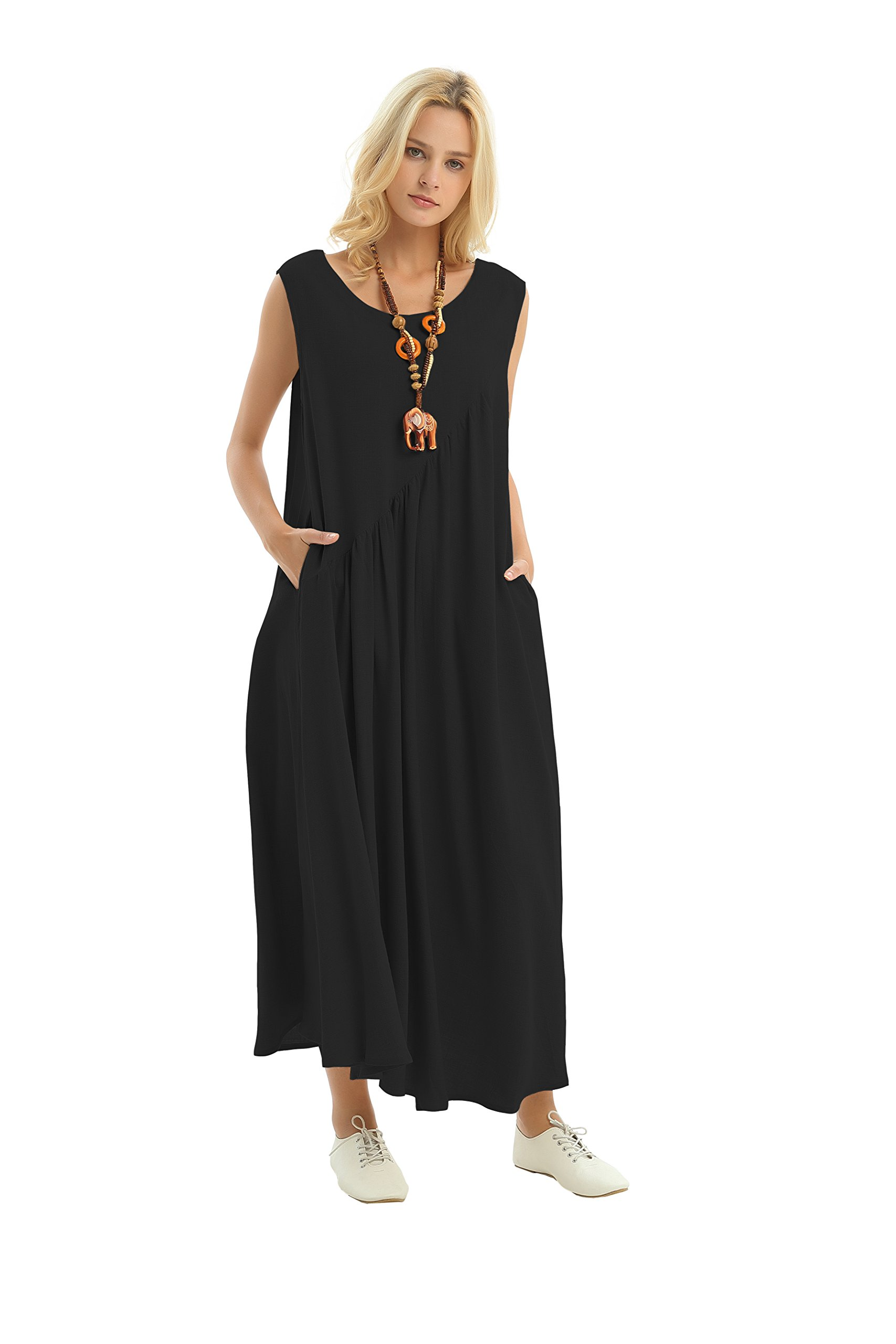 Anysize Side Seam Pockets Loose Cotton Summer Dress Plus Size Clothing Lithesome Version 0.7 lbs Y17