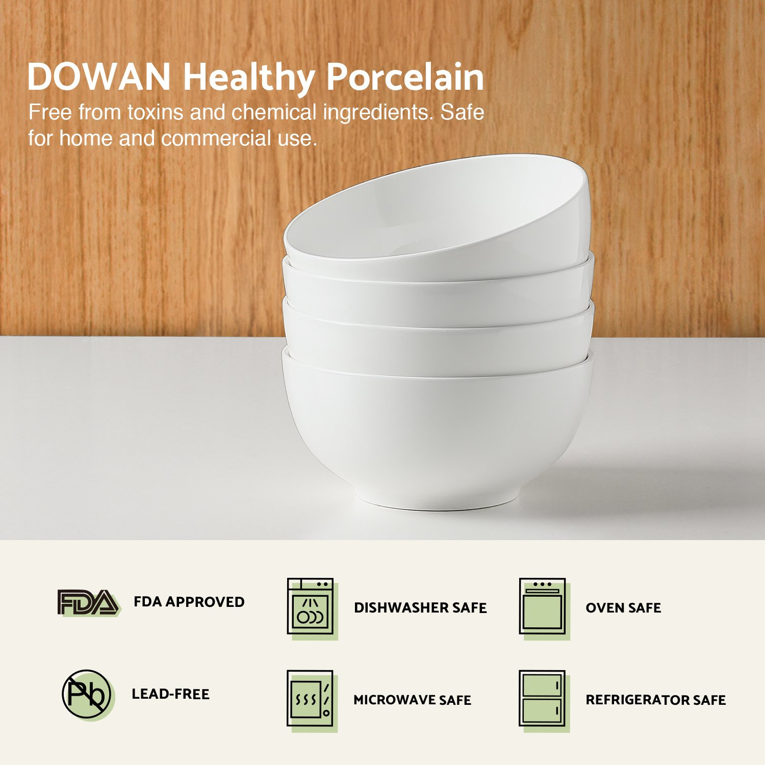 DOWAN 22oz Porcelain Soup/Cereal Bowls - 4 Packs, White by DOWAN (Image #3)