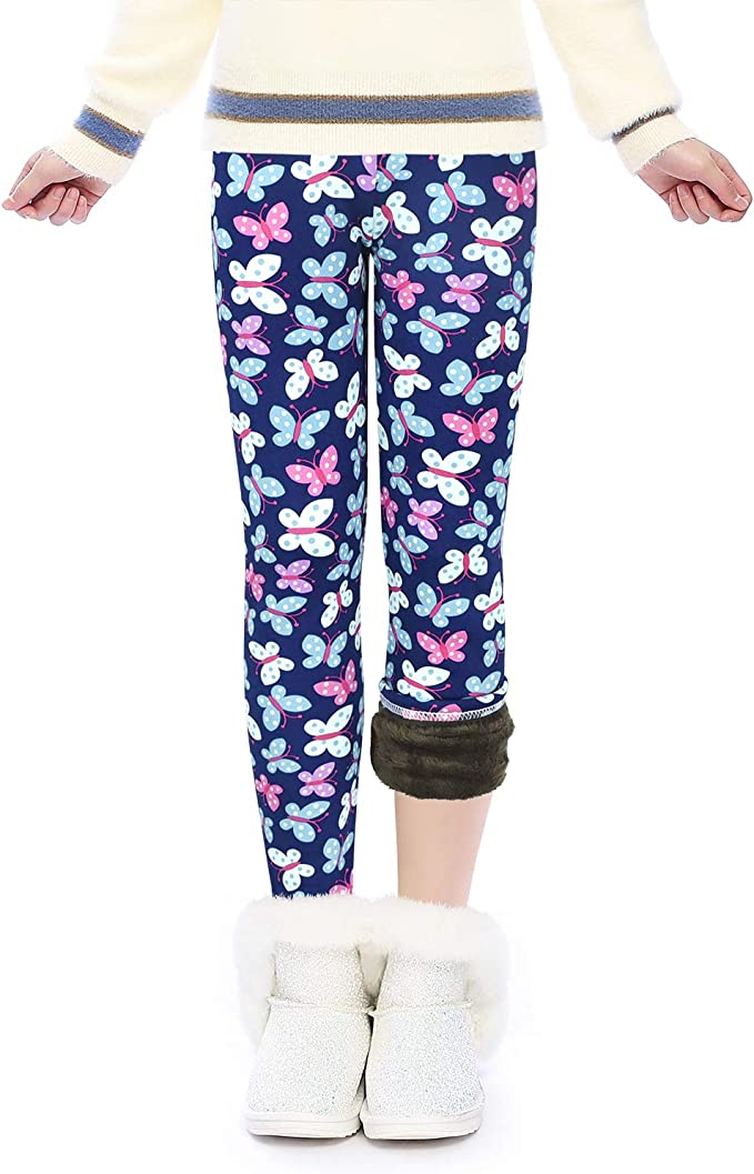 Girls Winter Thick Warm Pants Printing Fleece Lined Leggings Tights