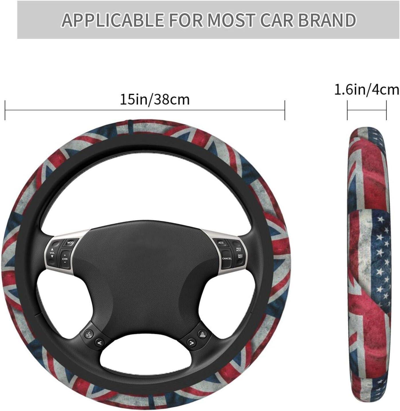 Universal 15 Inch Fit Gdewcro USA Flag and UK Union Jack Flag Auto Car Elastic Steering Wheel Cover Anti Slip Durable Odorless Neoprene Rubber Steering Wheel Protector