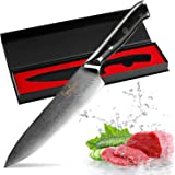 Damascus Knife 8 inch Chef Knife Japanese Kitchen Knives Damascus VG10 67 Layer Stainless Steel Knives Ultra Sharp Micarta Black Handle
