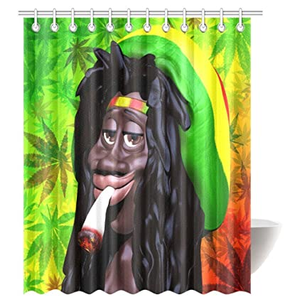 Cartoon Shower Curtain, Marijuana Leaf and a Man Smoking Fabric ...