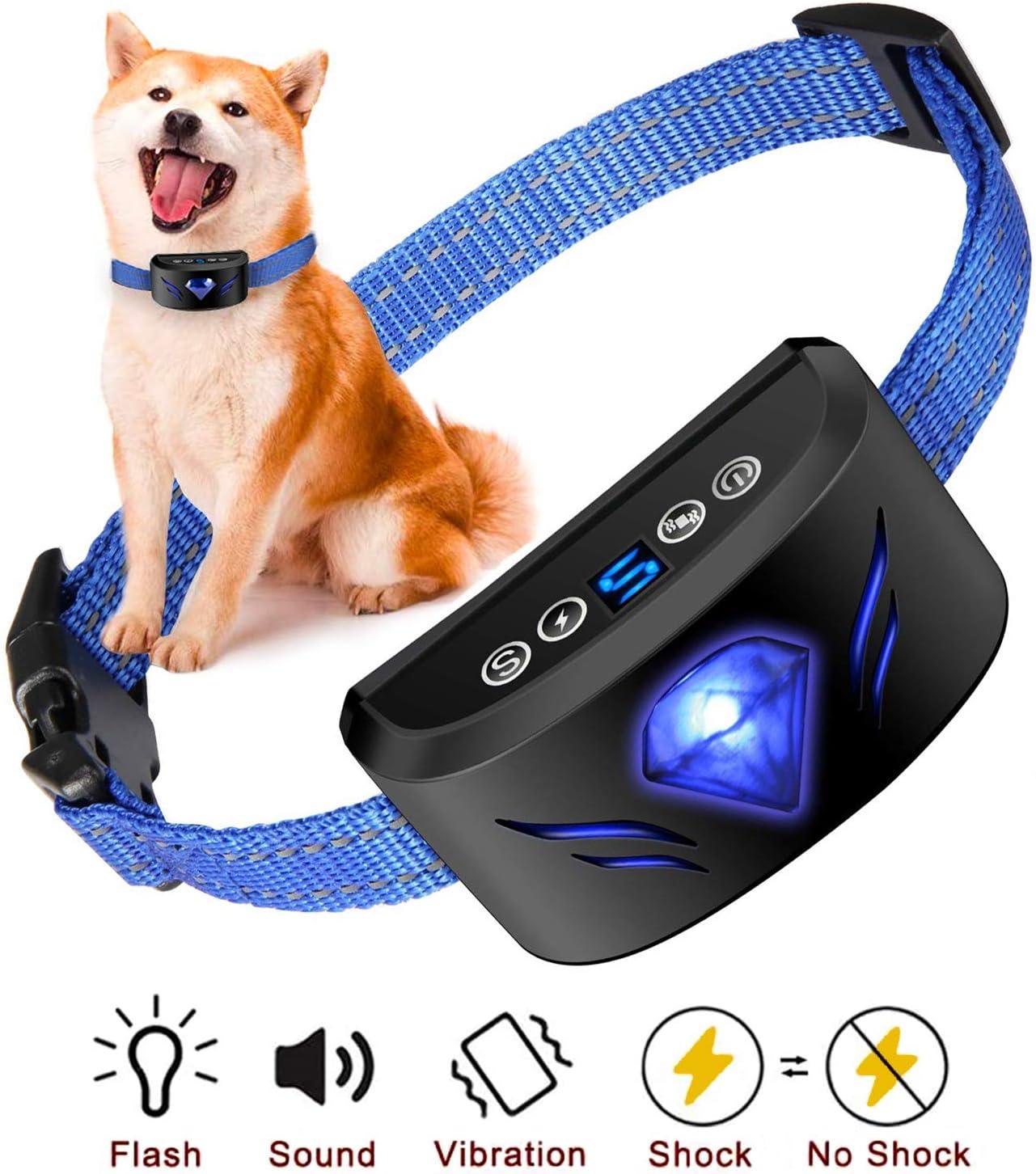 Collar Adiestramiento Perros,Collar Antiladridos con Sonido y Vibración,7 Niveles de Sensibilidad Ajustables Detección Inteligente Mejorada Collar de Perro para Perros Pequeños Medianos y Grandes