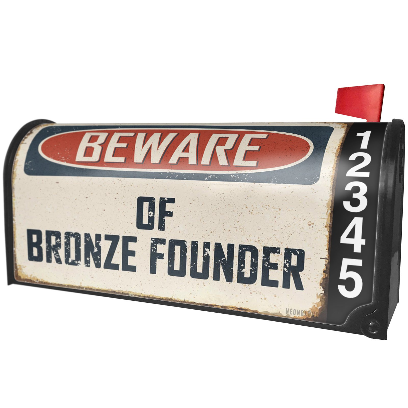 NEONBLOND Beware Of Bronze Founder Vintage Funny Sign Magnetic Mailbox Cover Custom Numbers