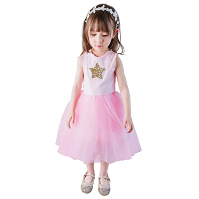Dressy Daisy Girl Tulle Dress Sequined Star Birthday Party Dresses Summer Holiday Outfit: Clothing
