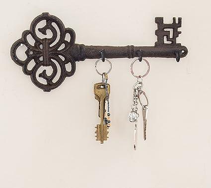 Amazon decorative wall mounted key holder vintage key with 3 decorative wall mounted key holder vintage key with 3 hooks wall mounted rustic ppazfo