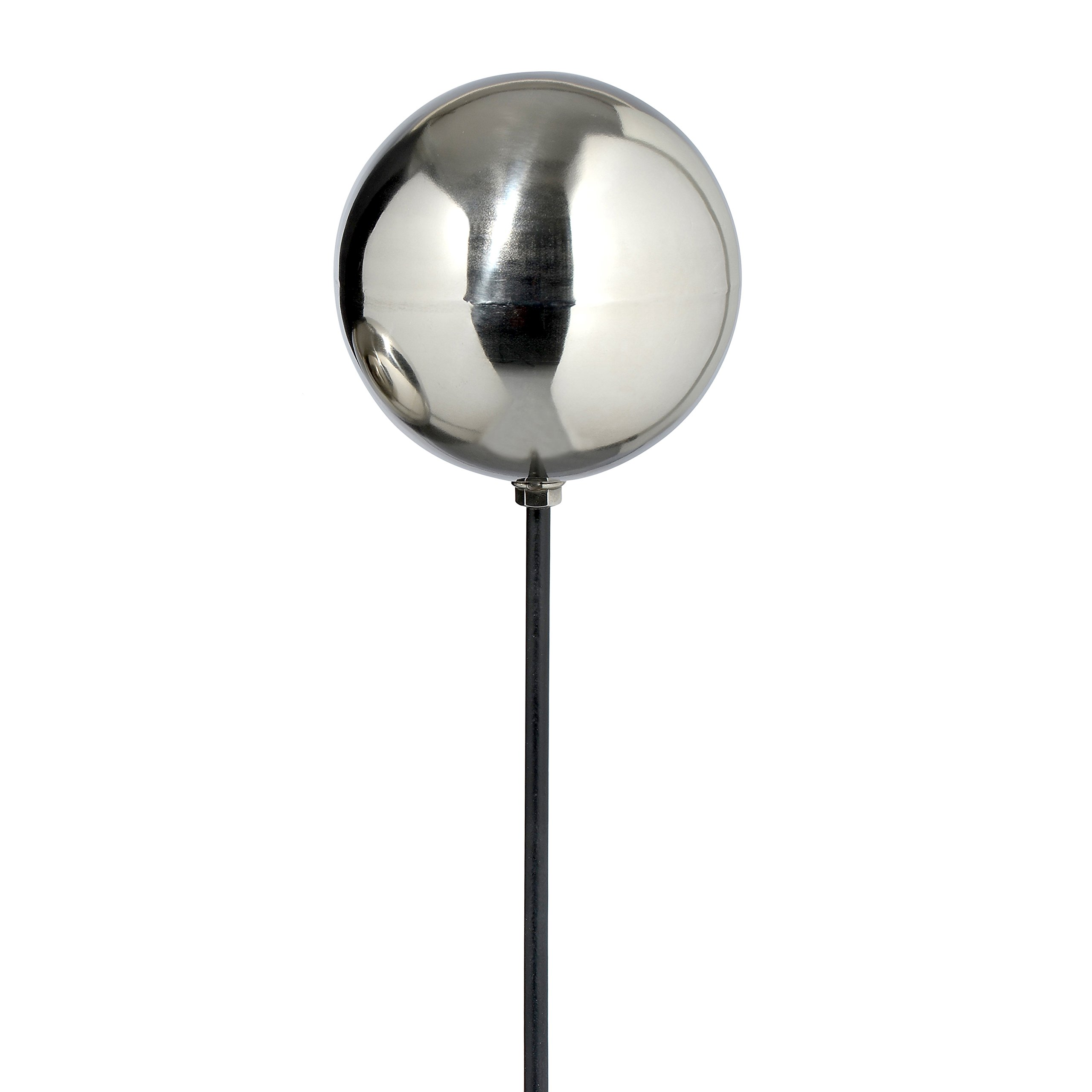 Whole House Worlds The Crosby Street Chic Gazing Ball Garden Stake, 3 1/2 Inch Stainless Steel Mirror Globe, Just Over 3 Ft at 39 3/8 Inches High, Stake Mounted, By