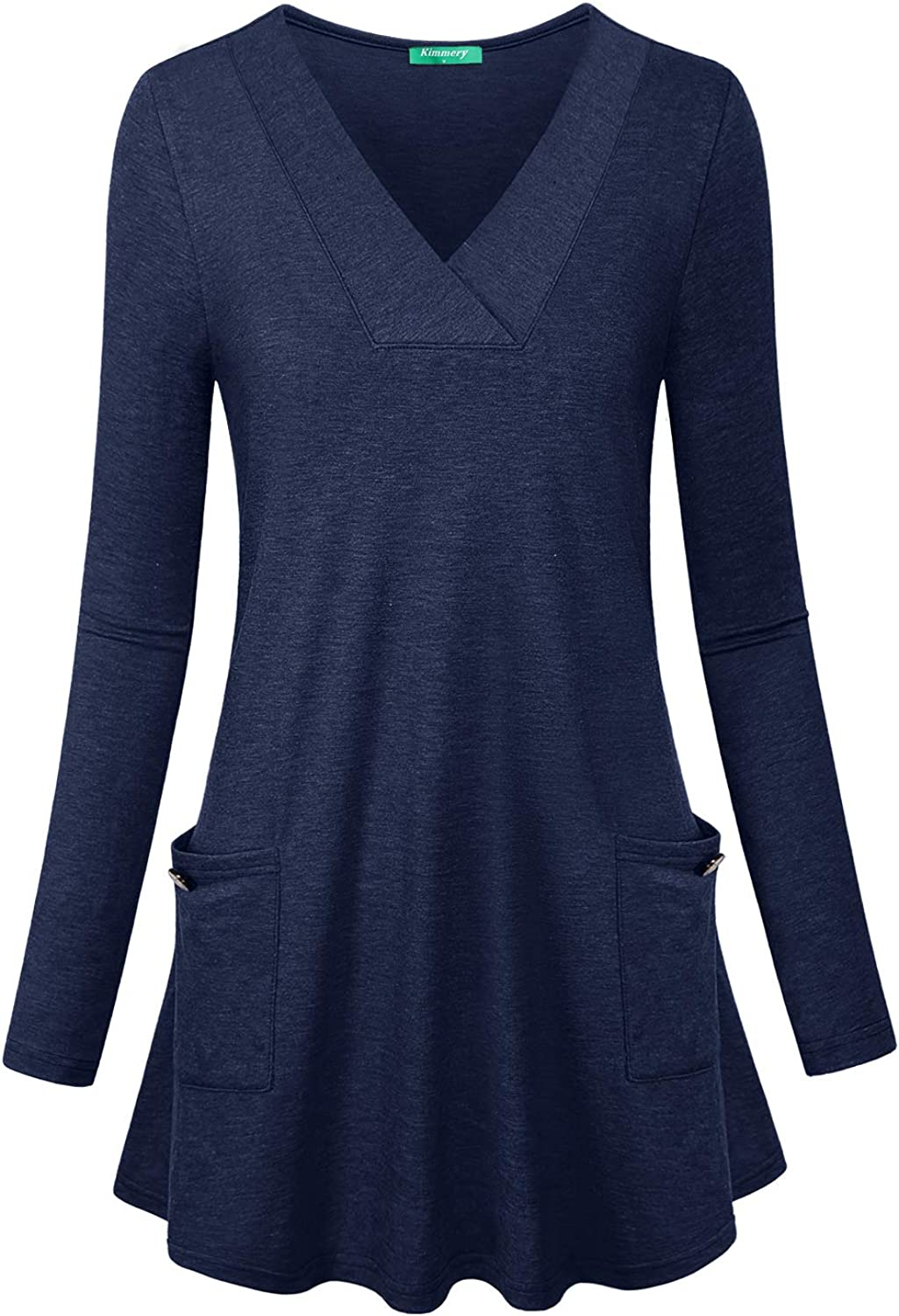 Kimmery Womens Long Sleeve V Neck Casual Flare Hem Tunic Top with Side Pockets