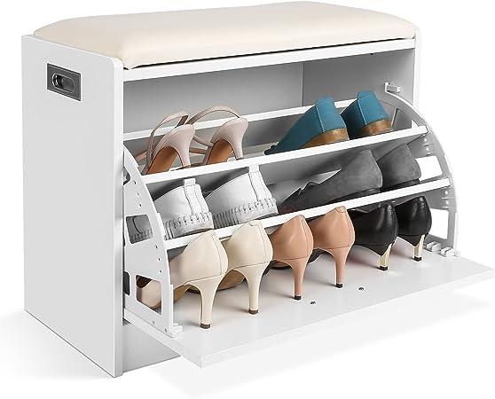 Homfa Etagere A Chaussures 3 Niveaux Meuble Banc De Rangement Chaussure Et Salle De Bain Siege Tabouret Pour Chausser Banquette Blanc Amazon Fr Cuisine Maison