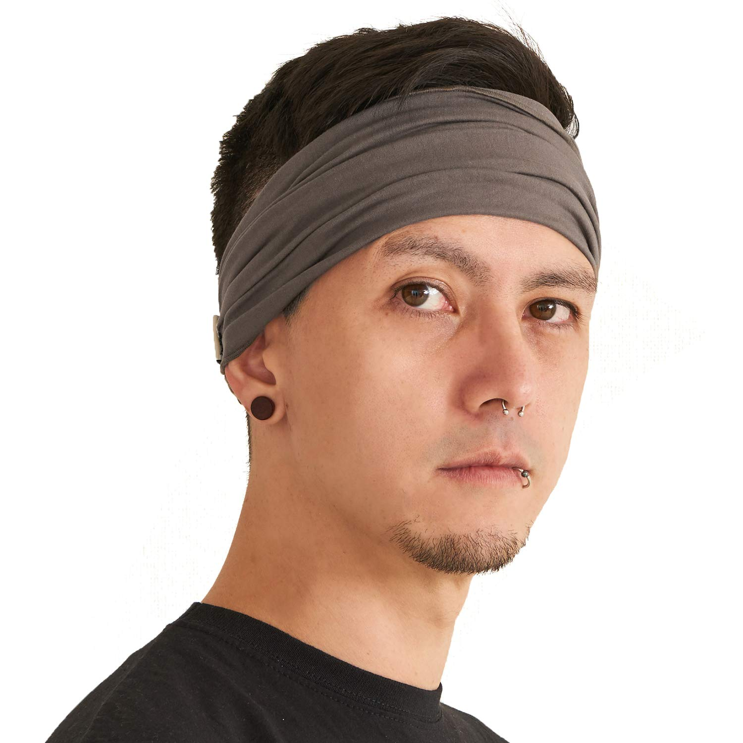 CHARM Charcoal Gray Japanese Bandana Headbands for Men and Women – Comfortable Head Bands with Elastic for a Secure Snug Fit Ideal for Runners Fitness Sports Football Tennis Stylish Lightweight L by CCHARM (Image #1)