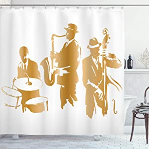 """Ambesonne Music Shower Curtain, Vintage Style Illustration of Jazz Band Playing The Blues Music Home Vibes Art, Cloth Fabric Bathroom Decor Set with Hooks, 70"""" Long, Sand Brown"""