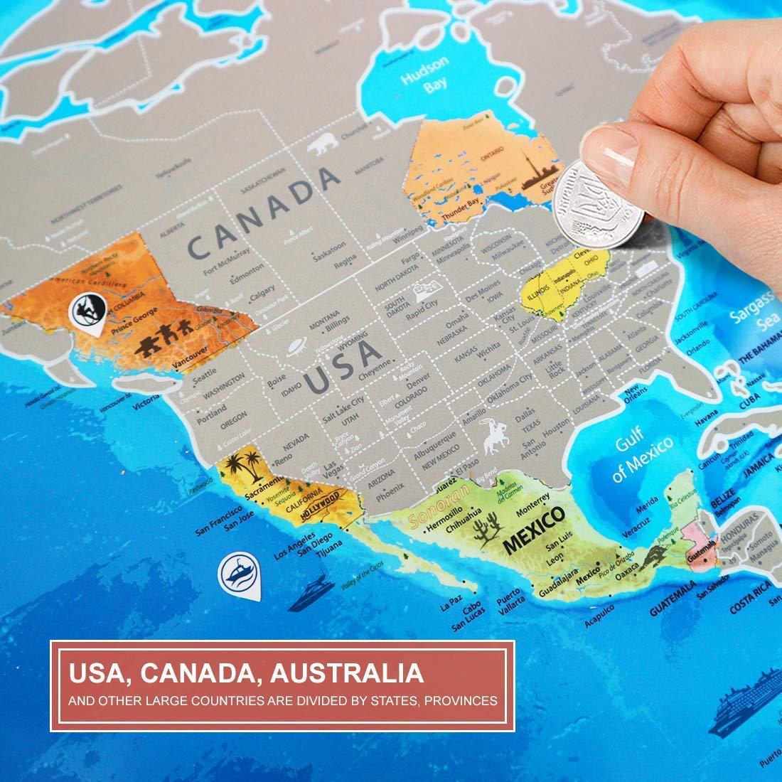 Cartina Mondo Gratta.Mappa Del Mondo Da Grattare Dettagliata Regalo Per Viaggiatori Cartina Mondo Da Grattare Grande Argento Xxl 88 X 62 Cm Scratch Off World Travel Map Poster Mappa Viaggi Con Adesivi Geografia Happytech Mappe