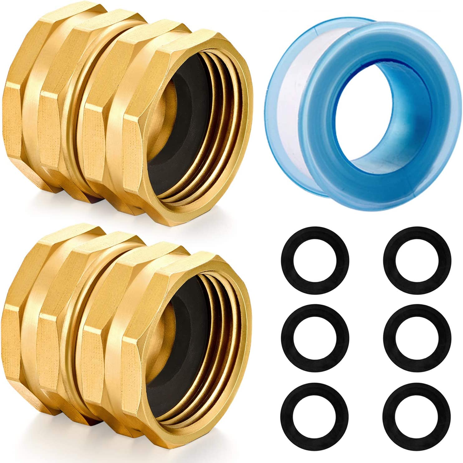 YELUN Solid brass Garden Hose Fittings Connectors Adapter Heavy Duty Brass Repair female to female double female faucet leader coupler dual water hose connector(3/4