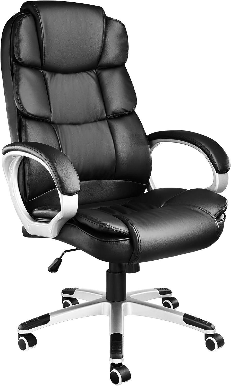 TecTake 403238 Silla de Oficina, Diseño Giratorio, Piel Sintética, Ergonómica, con Dispositivo Basculante, Negro