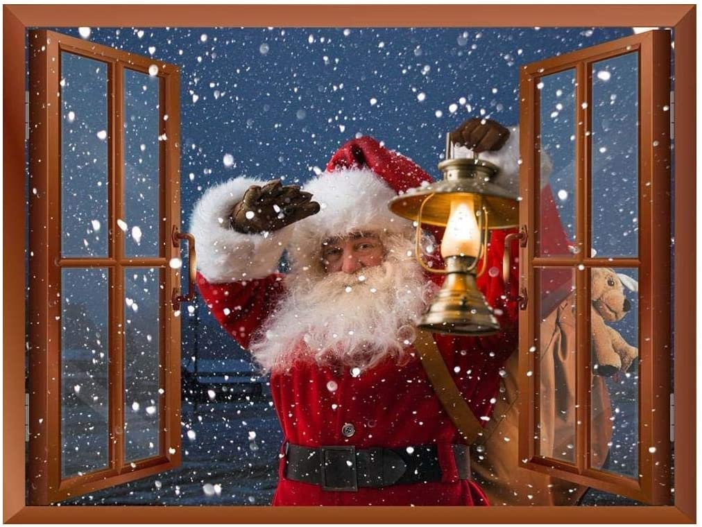 """Wall26 Removable Wall Sticker/Wall Mural - Santa Claus Carrying Gifts Outside of Window on Christmas Eve - Creative Window View Home Decor - 36""""x48"""""""