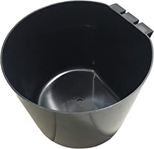 LITTLE FARMER PRODUCTS Chicken Bird Food Coop Cage Cup Feeder Water | Round 64 oz Durable Black Plastic | Coop Cup A