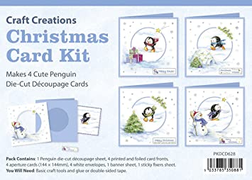 craft creations die cut 3d decoupage christmas card kit pkdcd628 busy penguins makes