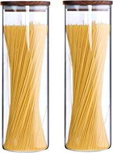 KKC Tall Borosilicate Glass Food Storage Jars for Spaghetti,Pasta Canisters,Noodle Holder Storage Sealed Containers with Wooden Lids,Airtight Clear Glass Kitchen Canisters Wood Lid,63 Floz,2 Piece Set