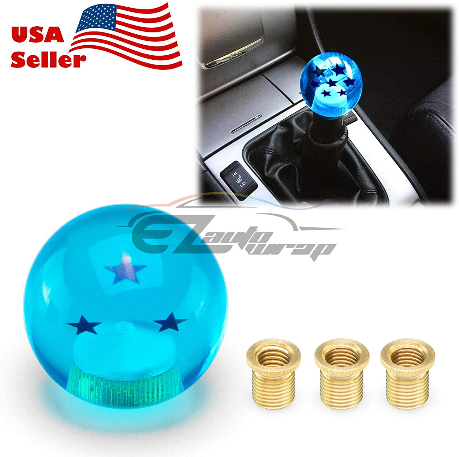 EZAUTOWRAP Universal Blue Dragon Ball Z 7 Star 54mm Shift Knob with Adapters Will Fit Most Cars