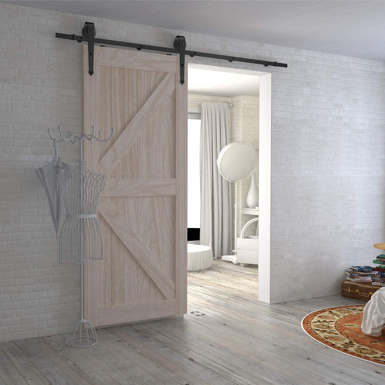 Smoothly and Quietly Easy Installation,Arrow Shape Hanger Classical Designing 5Foot Sliding Barn Door Hardware Kit Fit for 30 Wide Door Panel