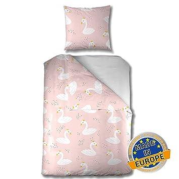 wei/ß Kinder-Bettw/äsche Love aus Baumwolle rosa Aminata Kids Baby-Bettw/äsche-Set 100-x-135-cm Schwan M/ädchen Marken-Rei/ßverschluss /& /Öko-Tex