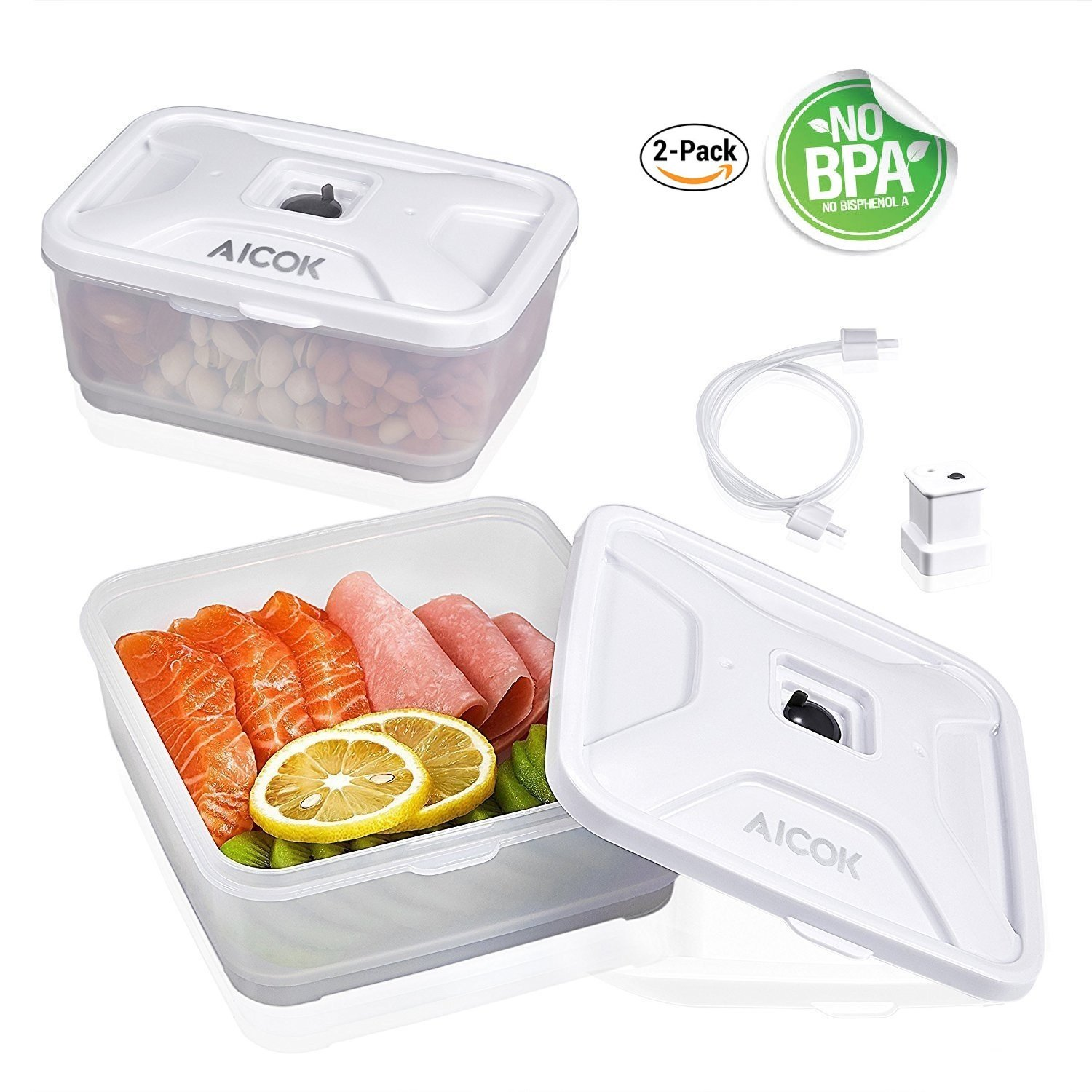 a423c3e1a742 Food Storage Containers Aicok Vacuum Container for Dishwasher, Freezer,  Microwave, Airtight and 100% Liquid Proofed, BPA Free Containers with Snap  ...