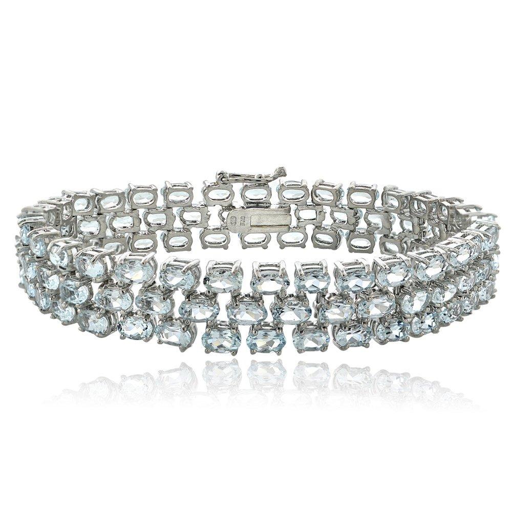 Sterling Silver Genuine Light Aquamarine Three Row Tennis Bracelet