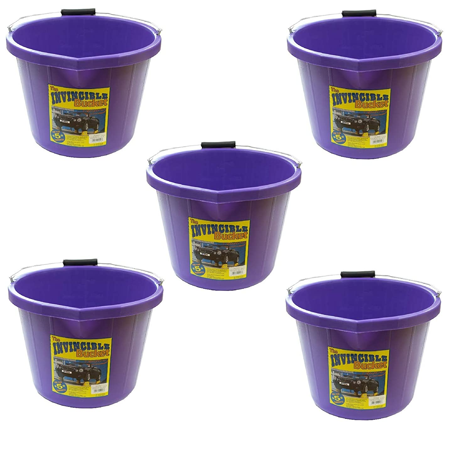 5 X Airflow Heavy Duty Invincible Builders Bucket Purple 3 Gallon 15 Litre