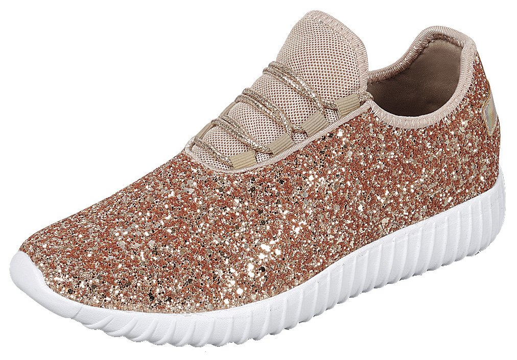 Cambridge Select Women's Closed Toe Glitter Encrusted Lace-up Casual Sport Fashion Sneaker B07D2JX4Y4 9 B(M) US|Rose Gold