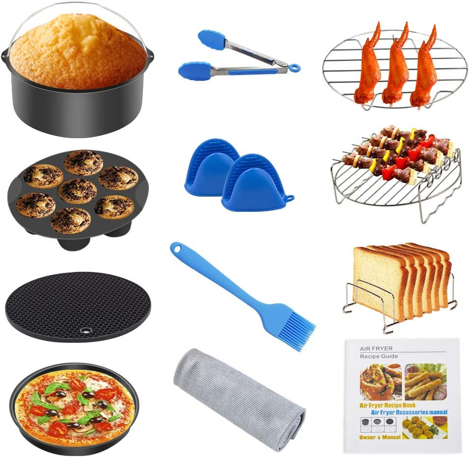 Air Fryer Accessories 8 inch,Air Fryer Kit,Set of 12 Fit all 4.2Qt-5.8Qt Air fryer,Pressure Cooker,Nonstick Coating,SpecialWipingCloth