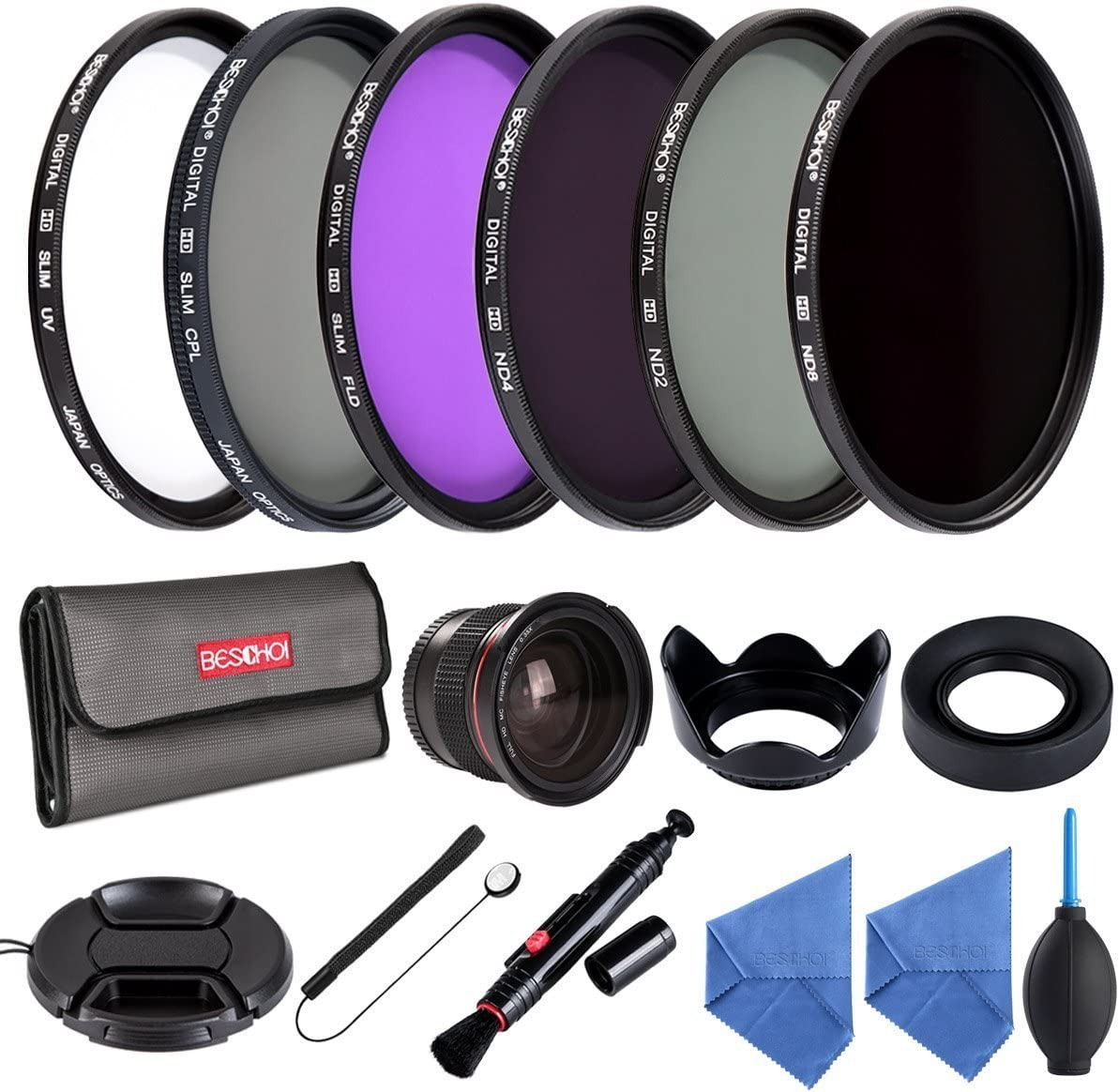 Beschoi 52mm UV Protection Lens Filters Kit UV CPL FLD ND2 ND4 ND8 Slim Lens Filter Set 52mm 0.35x HD Wide Angle Fisheye with Amazing Kit Acessories