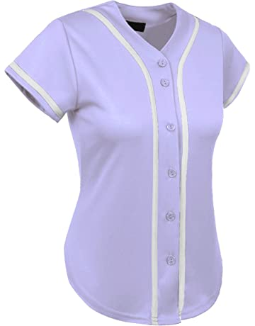 Hat and Beyond Womens Baseball Button Down Tee Short Sleeve Softball Jersey  Active T Shirts c42540cb4