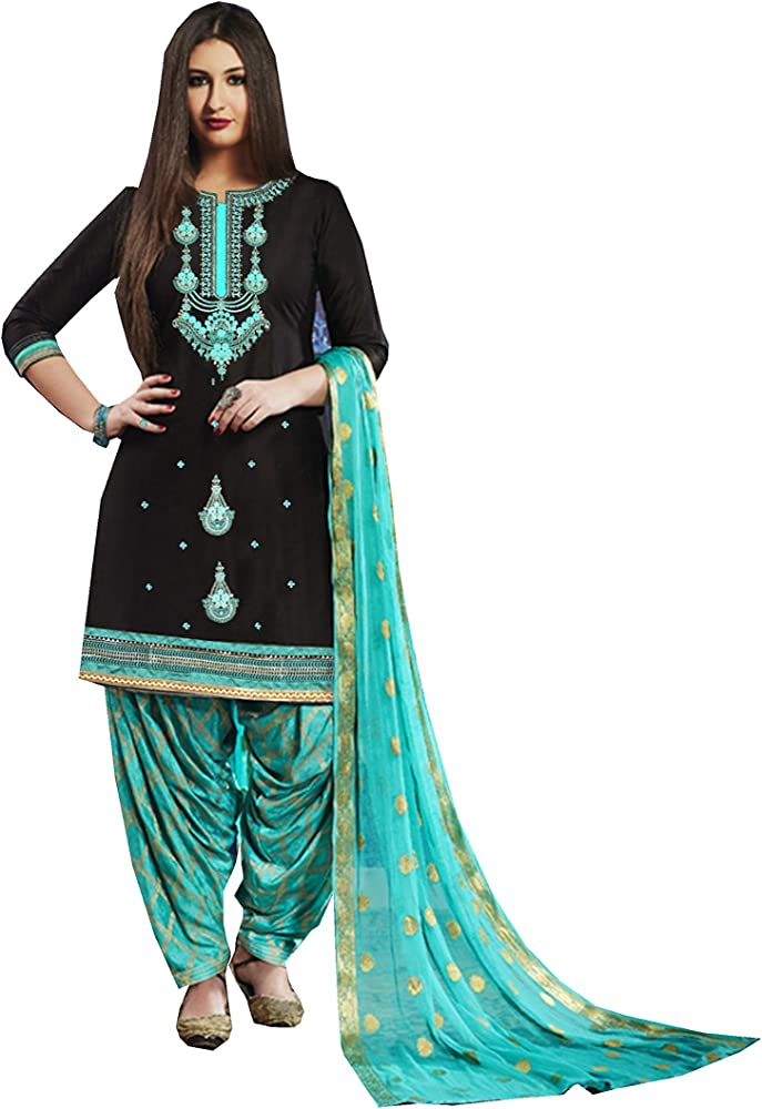 Delisa Indian Pakistani Cotton Ethnic Wear Punjabi Patiala Salwar Kameez Black Customize Stitch At Amazon Women S Clothing Store