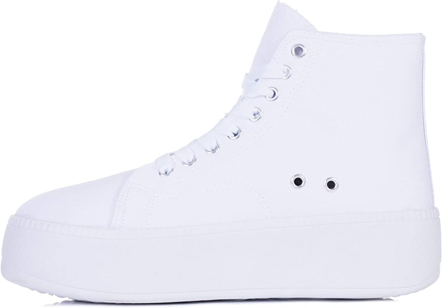 Lace Up Flat Hi Top Trainers Shoes