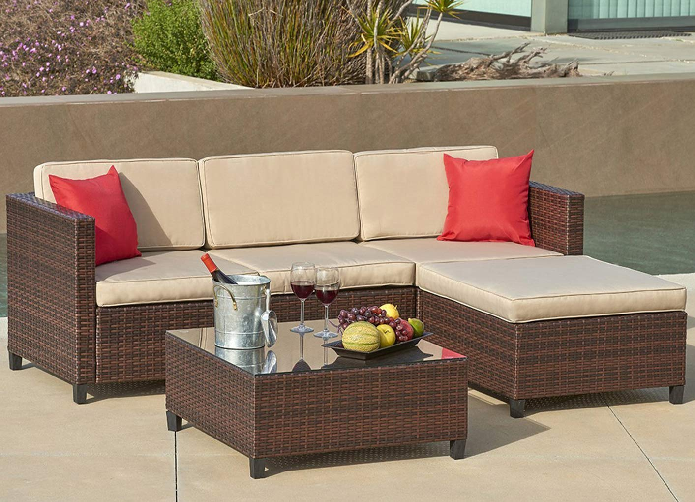 SUNCROWN Outdoor Sectional Sofa (5-Piece Set) All-Weather Brown Checkered Wicker Furniture with Brown Seat Cushions and Modern Glass Coffee Table, Patio, Backyard, Pool - COMFORTABLE SOFA SET - This contemporary outdoor sectional sofa comes with enough room to seat 4-6 friends comfortably with a table to hold food and drinks. All cushion covers contain a zipper and are washable. BEAUTIFUL WICKER STYLE - Crafted with high-quality resin wicker, this outdoor sofa furniture adds handsome décor to your patio, deck, backyard porch, or even pool. ELEGANT GLASS TABLETOP - The checkered wicker sectional set also features a gorgeous tempered glass coffee table that perfectly highlights your patio or poolside decor. - patio-furniture, patio, conversation-sets - 718UWMgkviL -