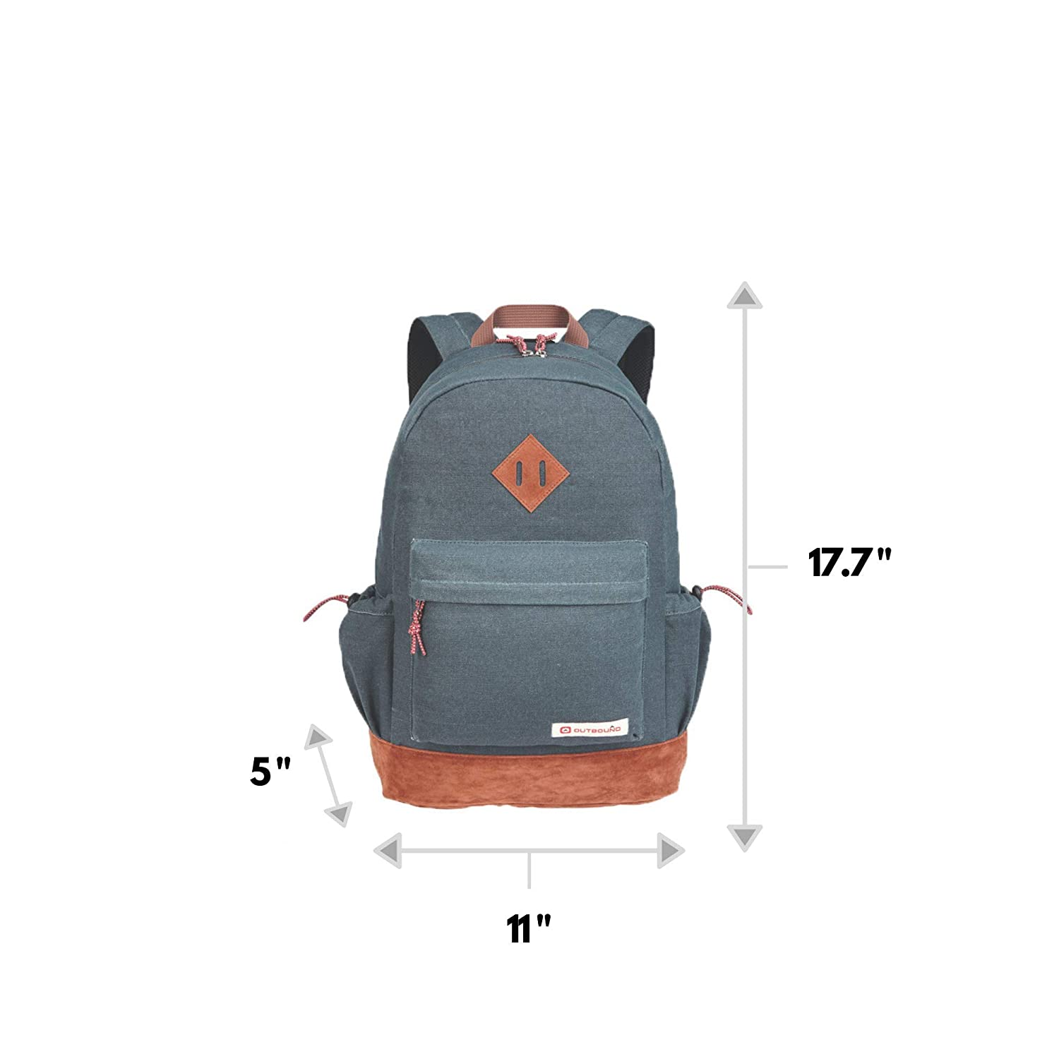Perfect for Kids School Backpack for Boys and Girls Blue Students or Everyday Use Outbound Canvas Backpack 17.7 Inch