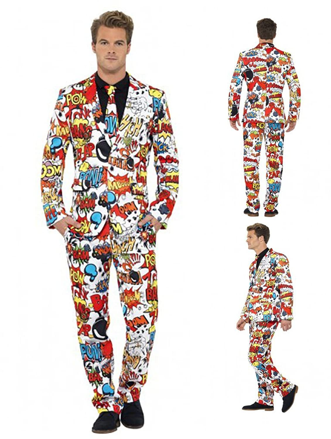 60s -70s  Men's Costumes : Hippie, Disco, Beatles Comic Strip Stand Out Suit - 3 Sizes $130.99 AT vintagedancer.com