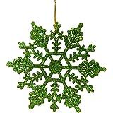 "Northlight  Club Shimmering Xmas Green Glitter Snowflake Christmas Ornaments, 24 Pack, 3.75"""