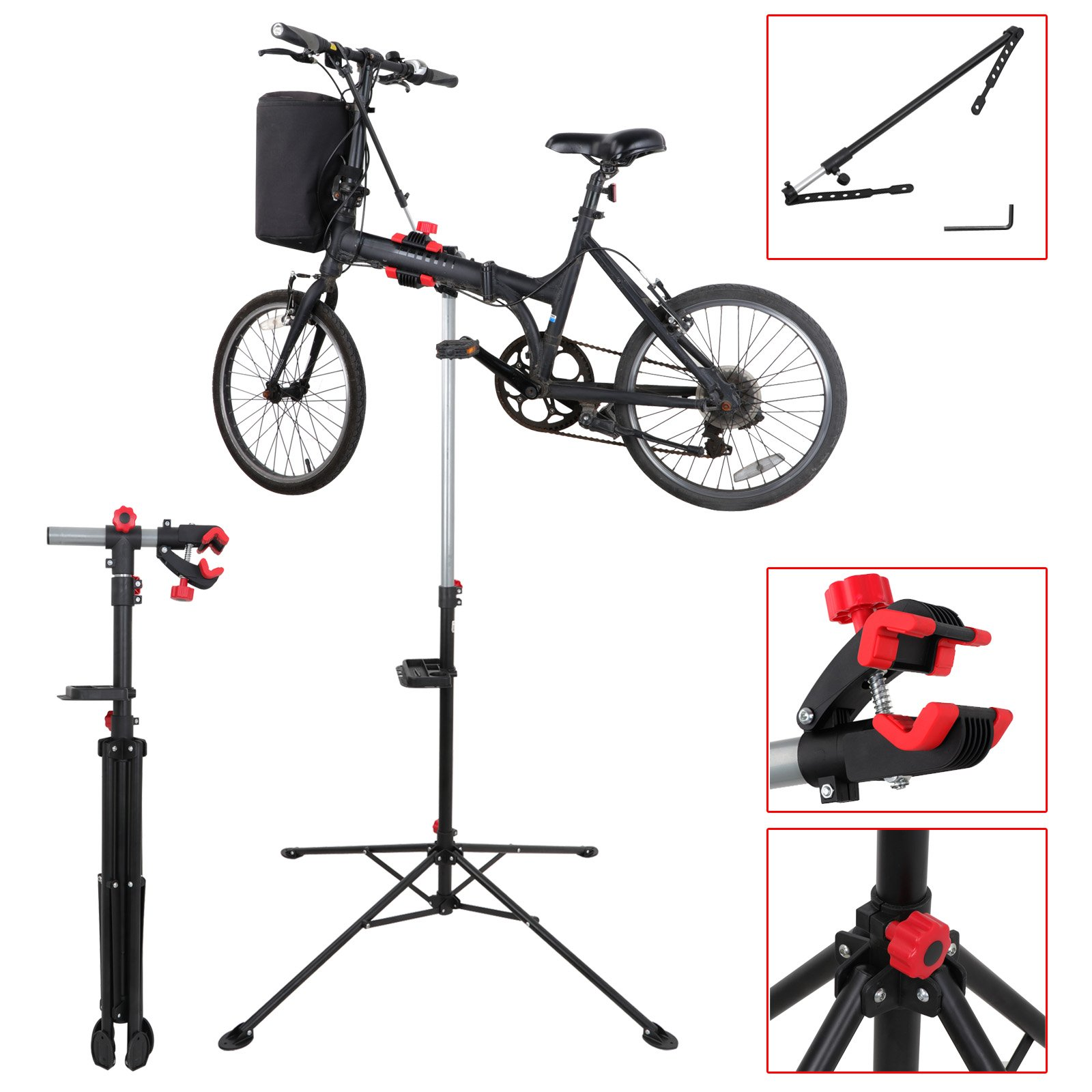 LEMY Pro Mechanic Bike Repair Stand Rack Adjustable 42.5'' to 74'' Workstand With Tool Tray, Telescopic Arm Cycle
