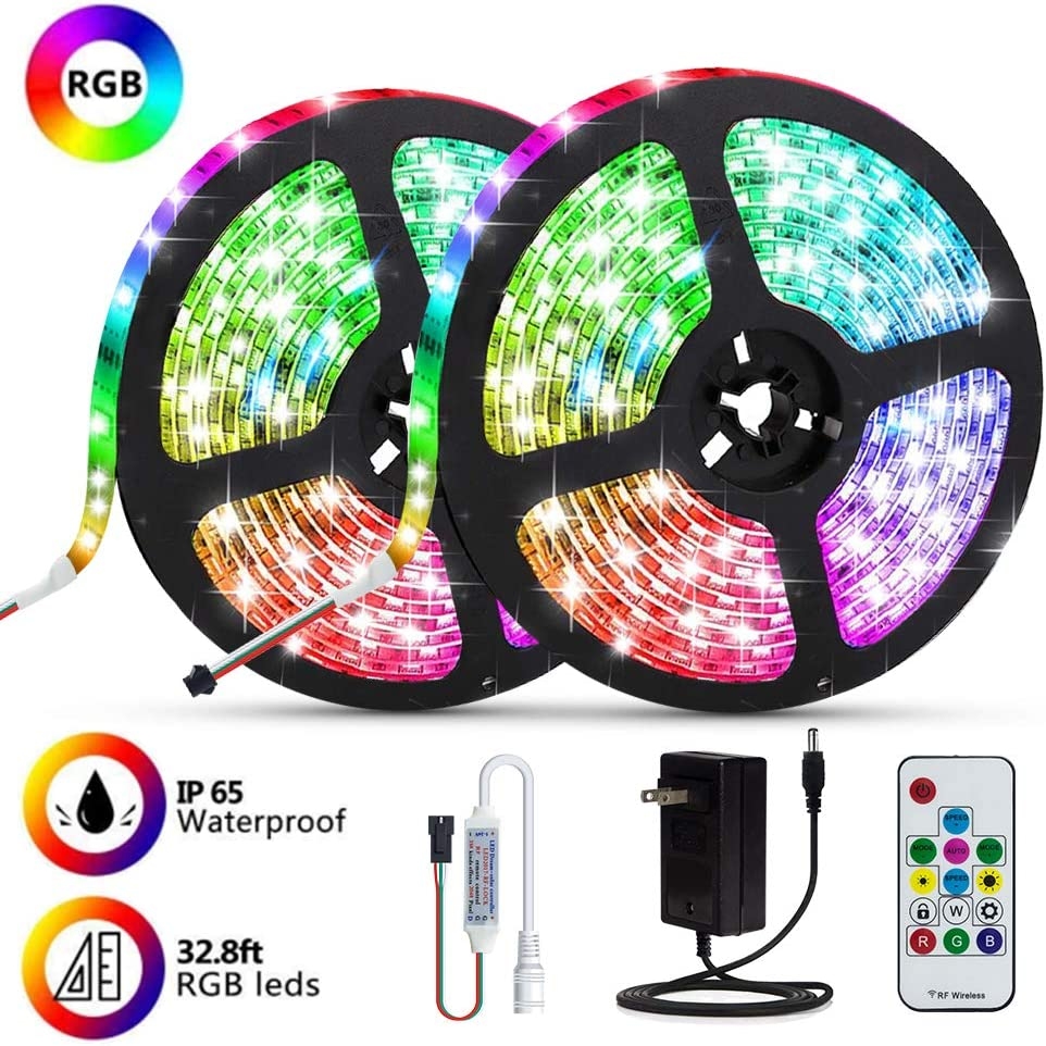 32.8ft Rope Light RGB LED Strip Lights LED Light Strip 300 LEDs Tape Lights Color Changing LED Strip Lights with Remote for Home Lighting Kitchen Bed Flexible Strip Lights for Bar Home Decor Party