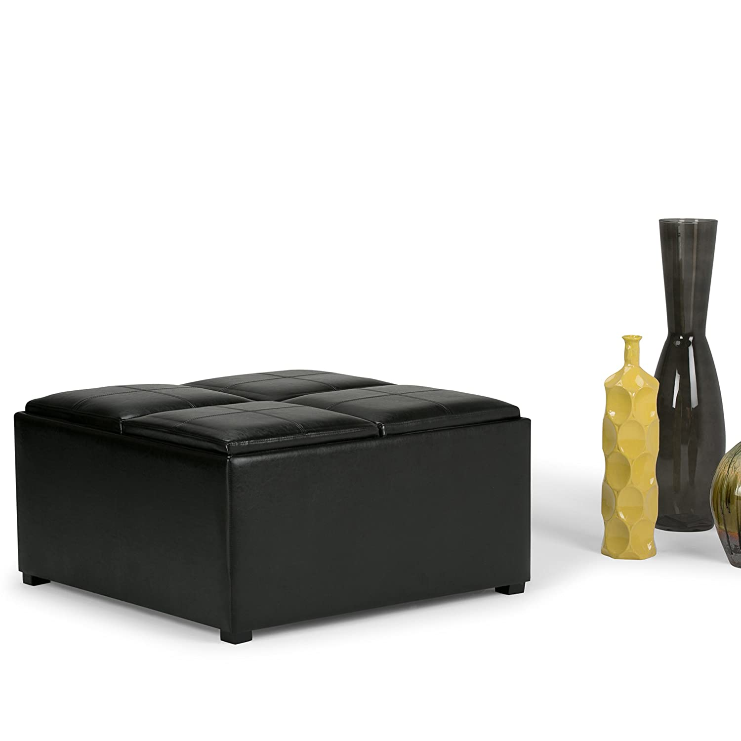 Amazon Simpli Home Avalon Coffee Table Storage Ottoman with 4