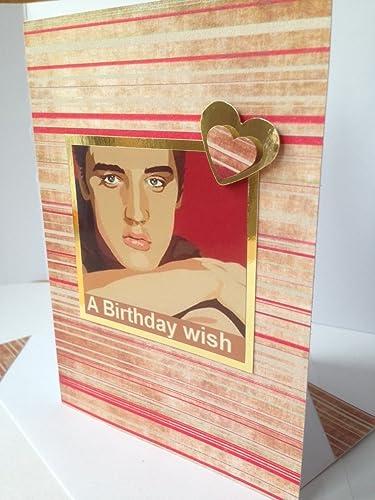 Elvis Presley Greetings Handmade Card American Singer Actor Red