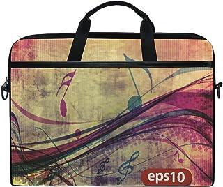 Ahomy 15–39,1cm Sac d'ordinateur Portable, coloré, Musicle Note sur Toile Tissu Sacoche d'ordinateur Portable fenêtre pour Sac à Main avec bandoulière pour Homme et Femme