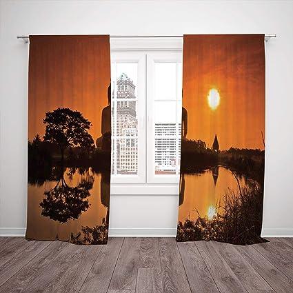 Amazon.com: Satin Window Drapes Kitchen Curtains,Asian Decor ...