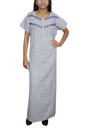 Indiatrendzs Women Nightdress Blue Printed Cotton Long Sleepwear Nighty XL   Amazon.in  Clothing   Accessories 7594e68de