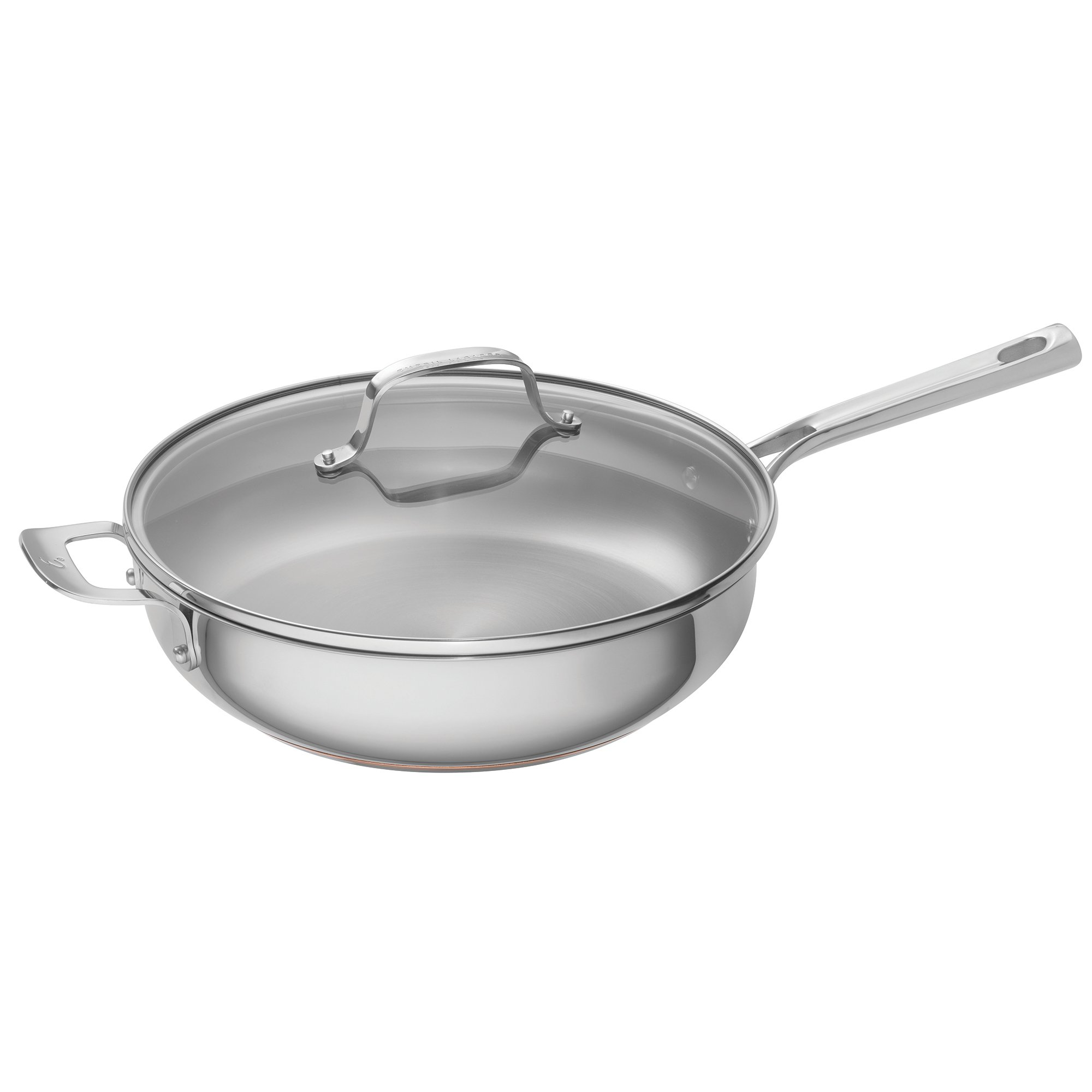 Emeril Lagasse Stainless Steel Copper Core Covered Deep Saute Pan, 5 quart, Silver