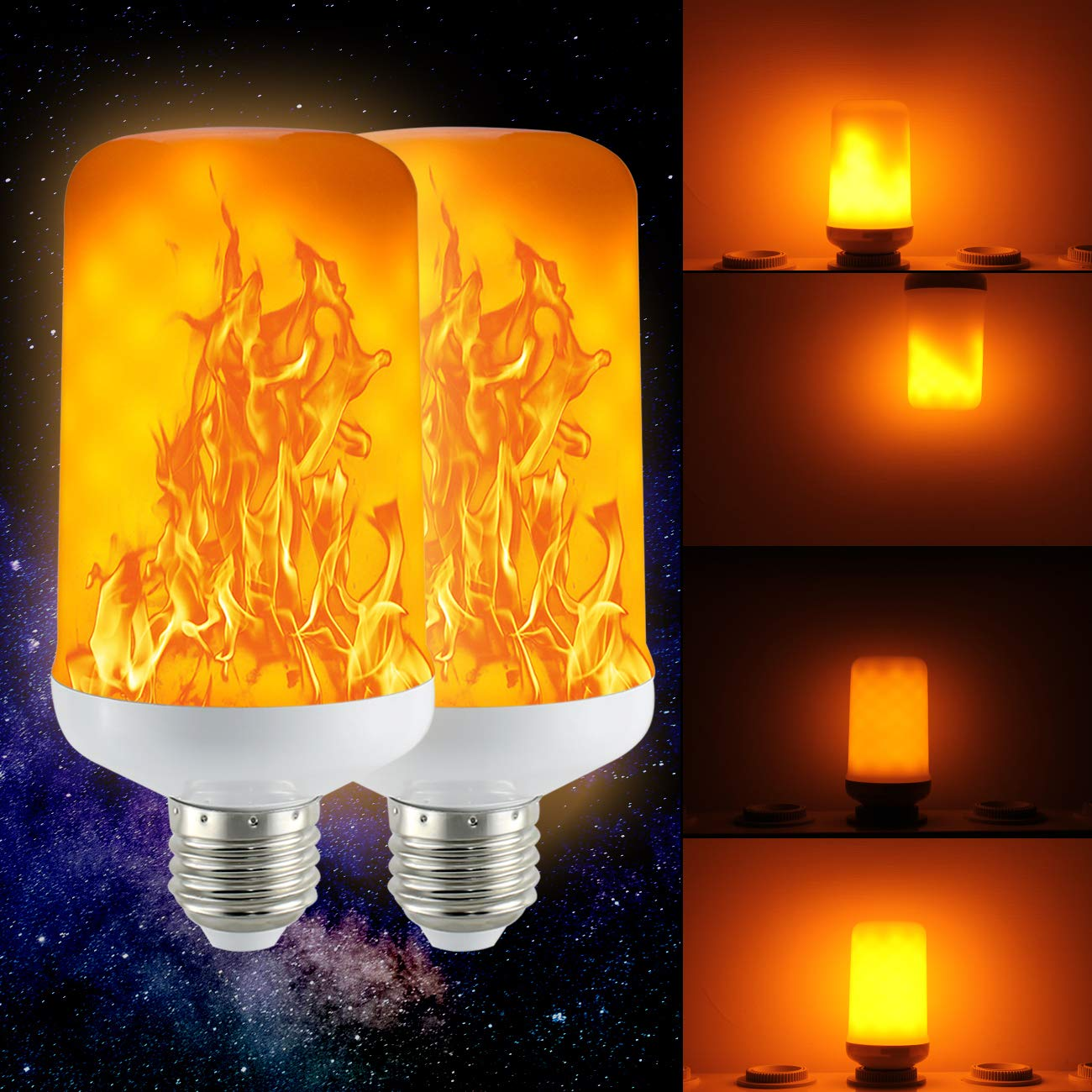 Led Flame Effect.2 Pack Golspark Led Flame Effect Light Bulb 7 Watt Standard E26 Base Flickering Fire Light Halloween Christmas Holiday Atmosphere Decorative