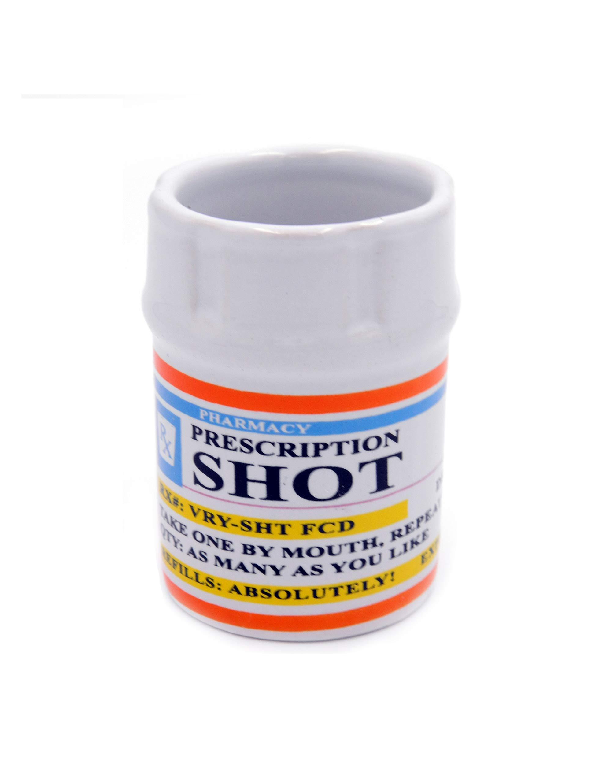 Shot Glasses – Prescription Pill Bottle Shot Glass – 2 oz. RX Prescription Unique Funny Novelty 1 Shot Glass set.